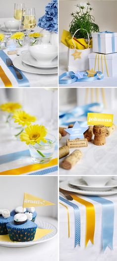 Love the idea with cork nametags. Gotta steal that one! And I love the colour combination Yellow + Blue Ballon Decorations, Wedding Decorations, Table Decorations, Decorating Tables, Graduation Day, Grad Parties, Flower Centerpieces, Next At Home, Holidays And Events