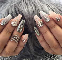 Spring Nail Art Cute Acrylic nail designs - Nails C Glam Nails, Classy Nails, Fancy Nails, Stylish Nails, Love Nails, Beauty Nails, Fabulous Nails, Gorgeous Nails, Pretty Nails