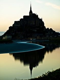 The tidal waters surrounding Mont Saint-Michel, France This is one of my favorite places that I have ever visited and I cannot wait to return Wonderful Places, Great Places, Places To See, Beautiful Places, Mont Saint Michel France, Le Mont St Michel, Places Around The World, Around The Worlds, Belle France