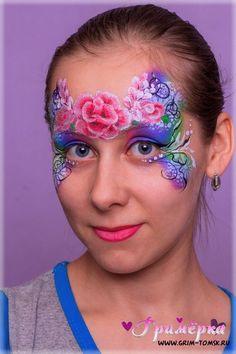 Аквагрим, грим, диадема, узор, цветочки, маска face painting, make-up, diadem, pattern, flowers, mask ideas for kids