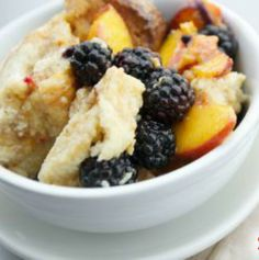 Grilled Peach and Blackberry Crisp: This light, healthy and easy dessert is practically a vitamin in a bowl thanks to these healthy fruits, whole grains and antioxidant-packed spices! It can also be made over a campfire! | via @SparkPeople #food #recipe #summer #fruit #camping