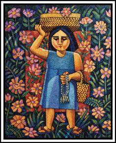 Sampaguita Vendor, by Ninoy Lumboy, a Filipino artist Traditional Filipino Tattoo, Filipino Art, Filipino Culture, Filipino Tattoos, Sampaguita, Tattoo Son, Philippine Art, Identity Art, Naive Art