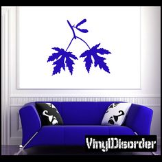 Maple Silver Leaves Wall Decal - Vinyl Decal - Car Decal - NS001