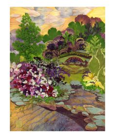 Stone Bridge Garden - Pressed Flower Art Giclee Print by Shelley Xie at Art.com