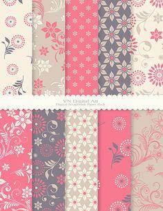 Spring Floral Digital Scrapbook Paper Pack by VNdigitalart on Etsy, $3.00