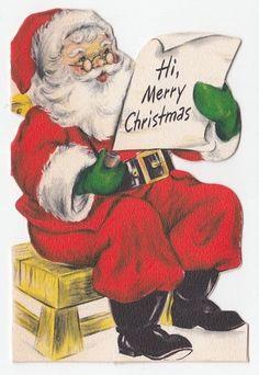 Vintage Greeting Card Christmas Die-Cut Santa Claus List Die-Cut Hallmark Christmas Card Images, Vintage Christmas Images, Christmas Graphics, Retro Christmas, Vintage Holiday, Christmas Greeting Cards, Christmas Greetings, Christmas Decor, Hallmark Christmas