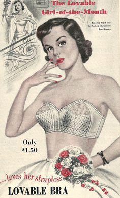 "hollyhocksandtulips: "" Lovable bra, 1951 """