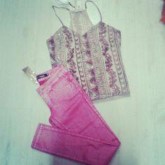 Regata Paete + Calca Encerada Rosa #moda #calca #colorida #regata #verao #veraototal #verao2014