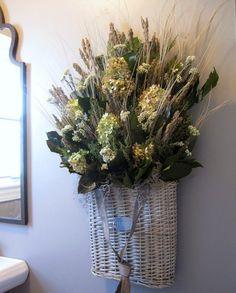 Dried flowers in basket