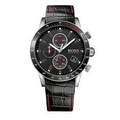1513390 Ανδρικό quartz ρολόι HUGO BOSS Rafale με μαύρο καντράν   μαύρο  κροκό δερμάτινο λουρί  8d869014db2