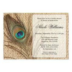 Peacock Bridal Shower Invitation Shabby Chic plum purple and