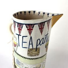 Katie Almond Jubilee Jug — Itch Gallery. Hand painted porcelain jug with loads of gorgeous details. Available from www.itchgallery.co.uk