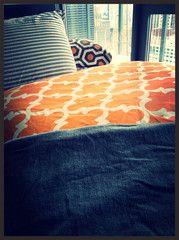 Orange and white duvet cover