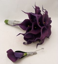 Real Touch Calla Lily Bridal Bouquet Groom Boutonniere Eggplant Purple