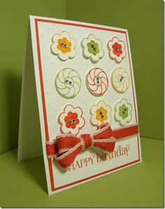 Paper Buttons Birthday card