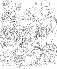 Oh holy Mew.this picture is insane! Okay, I am the one who is insane, but allow me first to list off all the pokemon in this drawing (in no particul. Water Pokemon -line- Pokemon Craft, Pokemon Party, Free Adult Coloring, Coloring Pages For Kids, Coloring Book Pages, Printable Coloring Pages, Pokemon Coloring Sheets, Colorful Drawings, Deviantart