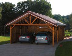 Carport Designs | Douglas fir apex carport with a storage shed attached