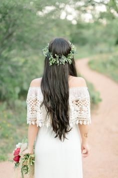 boho dress and a crown of greenery, photo by Mint Photography