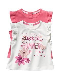 Pack of 2 Ruffle-Sleeved Baby Girl's T-Shirts Pink + white