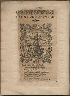 Hymne de Novembre. Hymnes du temps et de ses parties, Lyon, Jean de Tournes, 1560, in-4, exemplaire remonté (BmL, Rés 373727, p. 80).
