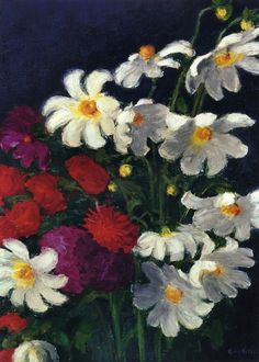 White and Red Dahlias ~ Emil Nolde