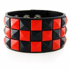 New Triple and Double Studded Punk Rock Wristband Bracelets Black: Clothing