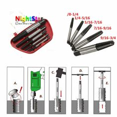5Pcs/Set Damaged Broken Screws Extractor Removal Tool Damaged Bolts Screws Drill Bits Screw Drivers