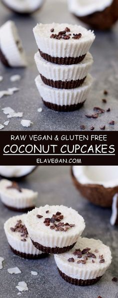 Raw coconut cupcakes, a vegan and gluten free recipe similar to bounty bars. If you love coconut and chocolate, you will love these