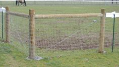 non climb horse fence - Google Search later add the wood like this or flat, which ever is cheaper. make sure to concrete in place & looks like each corner needs either a cross section of wire or a cross wood beam for support, i guess