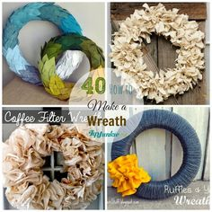 Learn how to make a wreath with these pictured tutorials. Wreath making for Fall, Christmas, winter or any season. You''ll find front door decorations to make… Christmas Wreaths To Make, Fall Wreaths, How To Make Wreaths, Door Wreaths, Burlap Ribbon Wreaths, Diy Wreath, Wreath Ideas, Coffee Filter Wreath, Wine Cork Wreath
