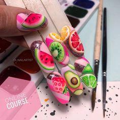 Fruit Nail Designs, Nail Art Designs, Red Nails, Love Nails, Nail Art Wheel, Fruit Nail Art, Watermelon Nails, Nail Stencils, Special Nails