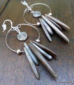 Primitive Jasper Spike Hoop Earrings by JamieRayCreations, $40.00 https://www.etsy.com/listing/183647255