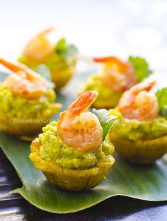 Plantain, Avocado, and Shrimp Cups (mofonguitos de aguacate y camarones)