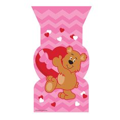 Valentine Bear Cello Shaped Bags/Case of 240