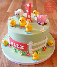 ideas for baby boy birthday cake farm animals Farm Birthday Cakes, Baby Boy Birthday Cake, Animal Birthday Cakes, Farm Animal Birthday, Birthday Animals, Barnyard Cake, Farm Cake, Farm Animal Cakes, Farm Animals