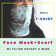 Simple neck tube style mask sewn from an old T-shirt with nose and filter pocket. Sewing Patterns Free, Free Sewing, Sewing Tutorials, Sewing Hacks, Hand Sewing, Pattern Sewing, Sewing Tips, Tutorial Sewing, Small Sewing Projects