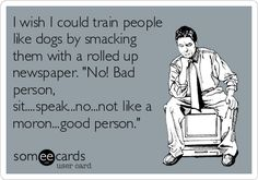 """I wish I could train people like dogs by smacking them with a rolled up newspaper. """"No! Bad person, sit....speak...no...not like a moron...good person."""""""