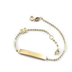 Βραχιόλι ταυτότητα πεταλούδα , χρυσό Κ14  0133 Jewels, Bracelets, Gold, Fashion, Moda, Jewerly, Fashion Styles, Bracelet, Gemstones