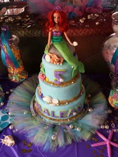 Cake at a Little Mermaid Party #littlemermaidparty #cake