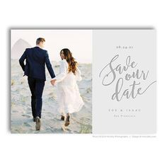 Classic Wedding Save the Date Template Save the Date Card Thank you postcard Photo Save the Date with Calendar Template Corjl Template