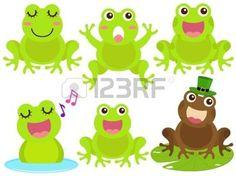 Un tema de iconos de colores lindos: la rana en el estanque photo
