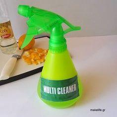 Οικολογικά Καθαριστικά με βάση το Ξύδι Cleaning Hacks, Cleaning Supplies, Eco Cleaners, Homemade Detergent, Spray Bottle, Pure Products, Household Tips, Dyi, Garden Ideas
