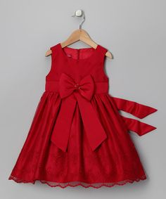 Take a look at this Red Bow Dress - Infant, Toddler & Girls by Princess Faith on today! Toddler Dress, Toddler Outfits, Baby Dress, Kids Outfits, Infant Toddler, Toddler Girls, Little Girl Fashion, Toddler Fashion, Fashion Kids