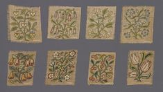 Embroidered Slips (VA CIRC.748 to B, D to F, I, J-1925) England c1600 Linen canvas, embroidered with silks in tent stitch