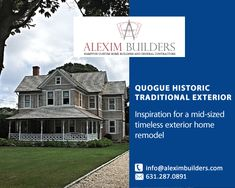 Quogue Historic - Traditional Exterior Inspiration for a mid-sized timeless exterior home remodel Contact us by sending a message on whatsapp and we will contact you 631.287.0891 #alexim #aleximbuilders #homedesign #homedecor #interiordesign #design #home #interior #architecture #decor #homesweethome #interiors #decoration #furniture #interiordesigner #luxury #homestyle #homedecoration #interiordecor #inspiration #interiorstyling #designer #livingroom #homeinspiration Hamptons New York, Hamptons House, Custom Home Builders, Custom Homes, Interior Styling, Interior Decorating, Home Developers, Traditional Exterior, New Home Construction