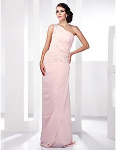 TS+Couture®+Prom+/+Formal+Evening+/+Military+Ball+Dress+-+Elegant+Plus+Size+/+Petite+Sheath+/+Column+One+Shoulder+Floor-length+Chiffon+with+Beading+–+GBP+£+65.59