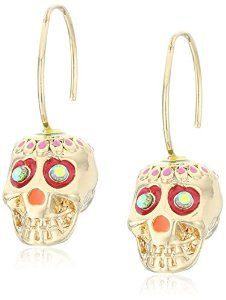 "Betsey Johnson ""Calypso Betsey"" Skull Drop Earrings"