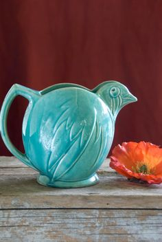 Art deco McCoy bird pitcher 1940s by RoseleinRarities on Etsy