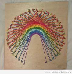 string art diy ideas colourful Rainbow colours String Art DIY
