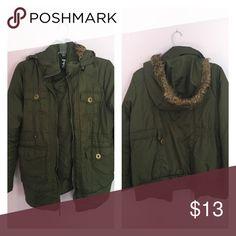 Warm winter coat Dark olive green winter coat with fur hood Dollhouse Jackets & Coats Puffers